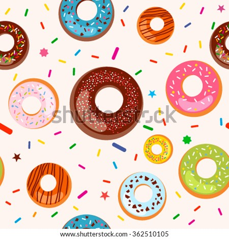 Seamless background with beautiful and colorful succulent donuts in glaze. Flat vector illustration - stock vector