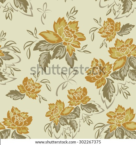 seamless background with beautiful bouquets of yellow flowers