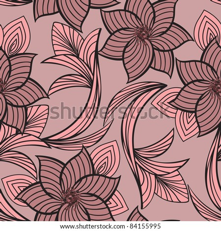 seamless background with beautiful pink flowers and leaves