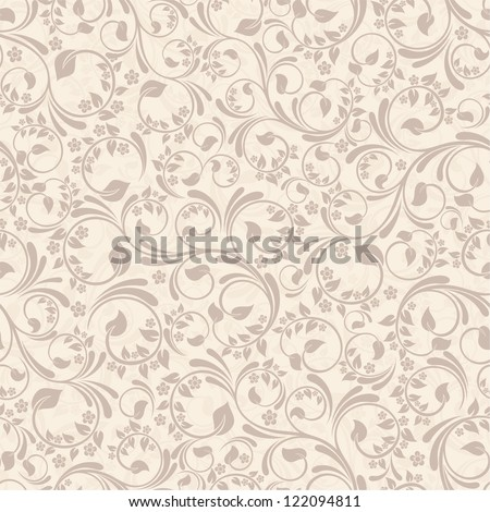 Seamless background with beige flowers - stock vector