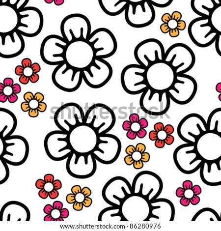 seamless background with big black and white and small colored abstract flowers - stock vector