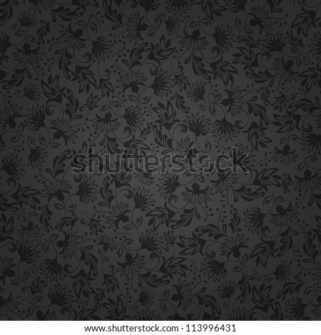 Seamless background with black ornaments - stock vector