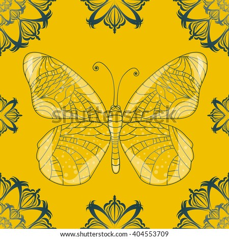 Seamless background with butterfly. Illustration 10 version - stock vector