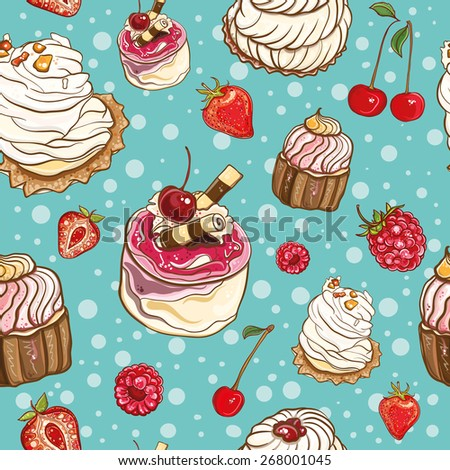 Seamless background with cakes and berries. Cream cakes. Cherry, strawberry, raspberry. Vector pattern. eps 10
