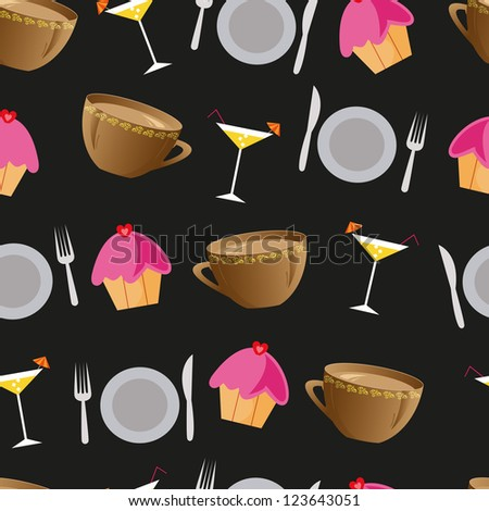 Seamless background with cakes, cocktails, plates and cups for restaurant, vector's illustration