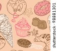 Seamless Background with Cakes, Sweets and Desserts - in vector - stock vector