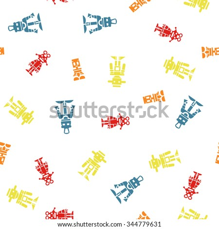 seamless background with cartoon robots - stock vector