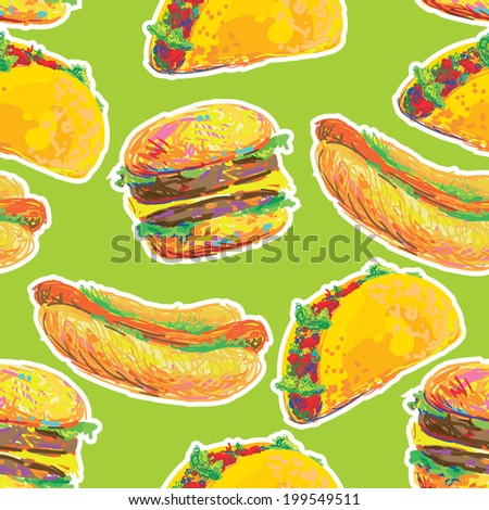 Seamless background with cartoon style hamburger, taco and hot dog. Fast food. Unhealthy Eating Pattern - stock vector