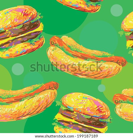 Seamless background with cartoon style hamburgers and hot dogs. Fast food. Unhealthy Eating Pattern - stock vector
