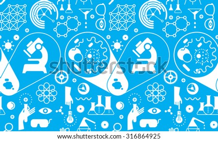 Seamless background with chemistry symbols. - stock vector