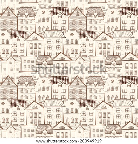 Seamless background with city and lots of houses. Vector illustration. This endless pattern Can be used for wallpaper, pattern fills, textile, web page background, surface textures. - stock vector