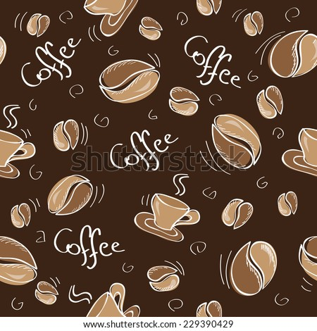 Seamless background with coffee beans and cups - Vector illustration - stock vector