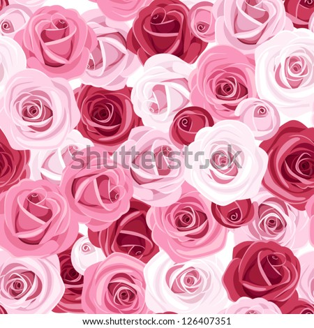 Seamless background with colored roses. Vector illustration. - stock vector