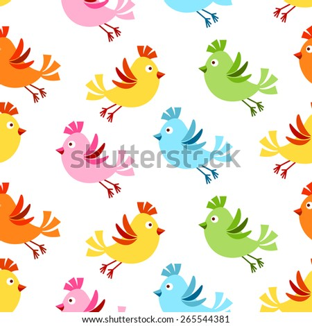 Seamless background with colorful cute flying birds - stock vector