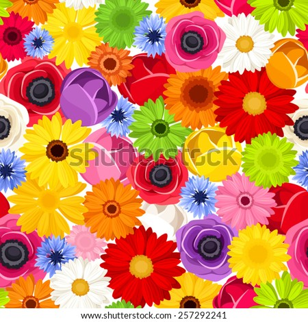 Seamless background with colorful flowers. Vector illustration. - stock vector