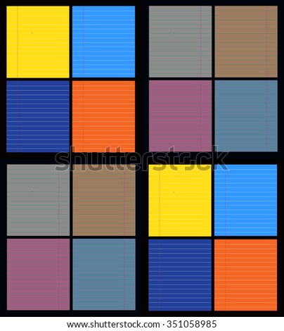 Seamless background with colorful paper sheets, vector illustration. - stock vector