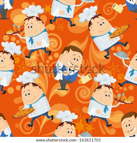 Seamless background with cooks with dishes and waiters with menu, cartoon characters on orange background with abstract patterns. Eps10, contains transparencies. Vector - stock vector
