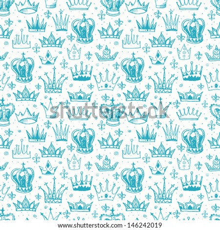 Seamless background with crowns. Can be used for wallpaper, pattern fills, textile, web page background, surface textures. Vector illustration.  - stock vector