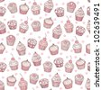 Seamless background with cupcakes - stock vector