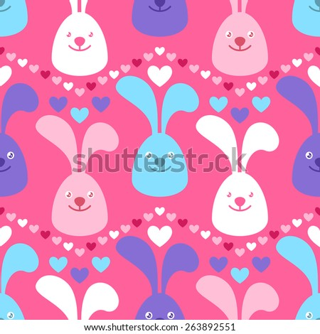 Seamless background with cute colorful bunnies and heart shapes - stock vector