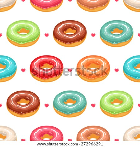 seamless background with cute donuts in colorful glaze and pink hearts - stock vector
