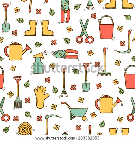 Seamless background with cute hand drawn garden tools objects: watering can, gloves, cutter, pitchfork, shovel, boots, rake, secateurs, pushcart, bucket, hose, sprayer for your design - stock vector
