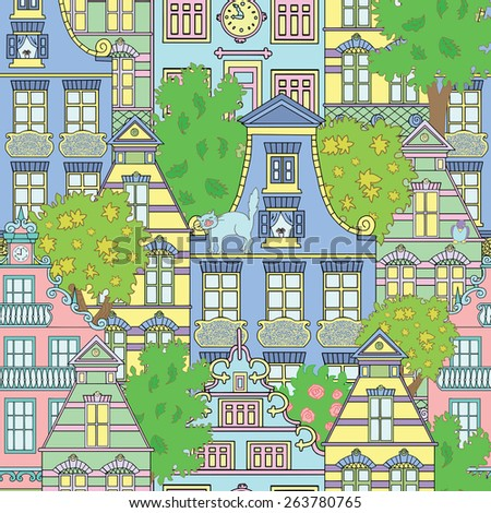Seamless background with cute houses and green trees, pretty ecological town with decorated buildings - stock vector