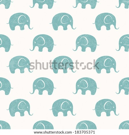 Seamless background with cute little elephants. EPS 10 vector pattern. - stock vector