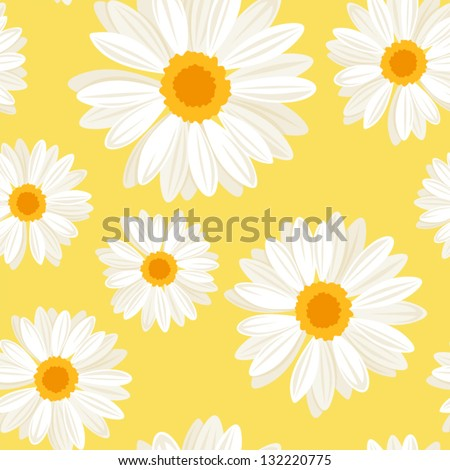 Seamless background with daisy flowers on yellow. Vector illustration.