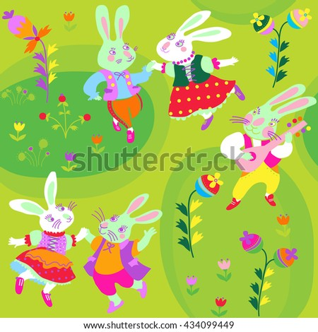 Seamless background with dancing hares - stock vector