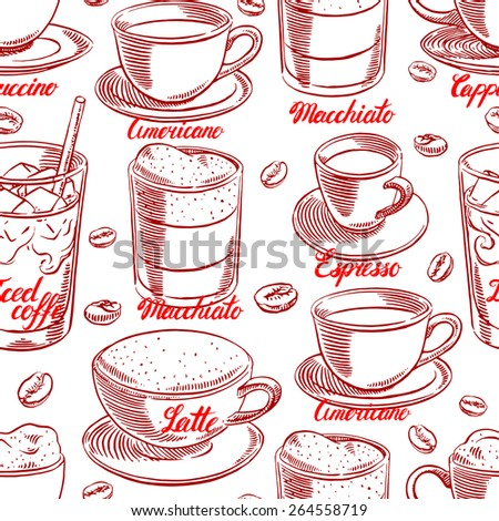 seamless background with different of cups of coffee and coffee beans. hand-drawn illustration - 2 - stock vector