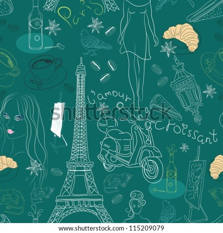 Seamless background with different Paris doodle elements,vector illustration for design - stock vector
