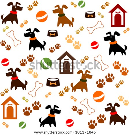 Seamless background with dogs. Vector Illustration - stock vector