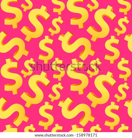 Seamless background with dollar signs. Can be used for wallpaper, pattern fills, web page background, surface textures. - stock vector