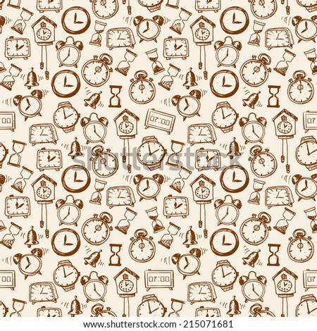 Seamless background with doodle sketch watches and other time symbols. Hand-drawn vector illustration. - stock vector