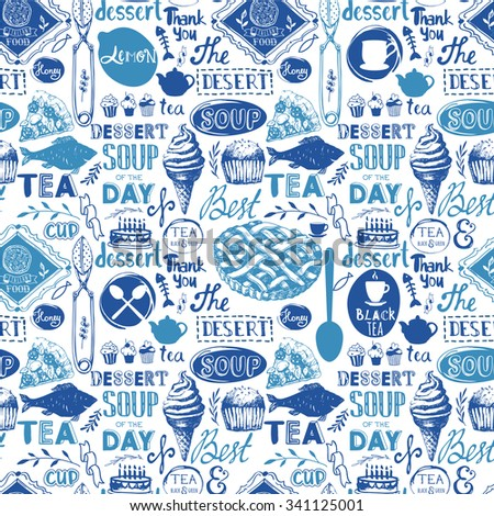 Seamless background with drink and food symbols. Menu pattern. Vector Illustration with funny food lettering and labels on white background. Decorative elements for your packing design. Blue decor. - stock vector