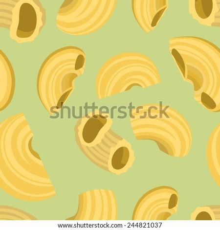 Seamless Background With Elbow Macaroni Pasta In Flat Design