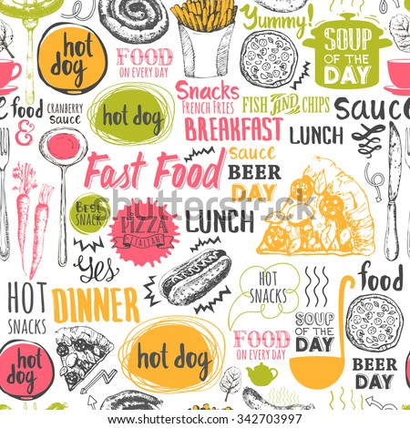 seamless background fastfood symbols menu pattern stock
