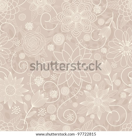 Seamless background with flowers in pastel colors - stock vector