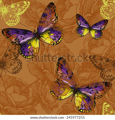 Seamless background with flying butterflies. Vector illustration. - stock vector