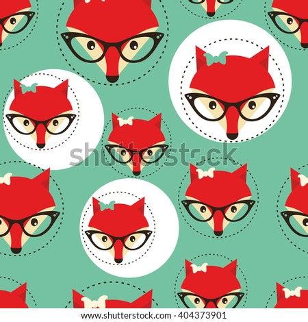 Seamless background with foxes faces in glasses. Vector repeating pattern. - stock vector