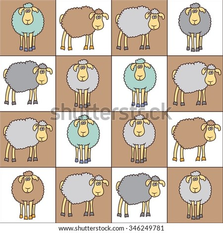 seamless background colored sheep can stock vector 346249781