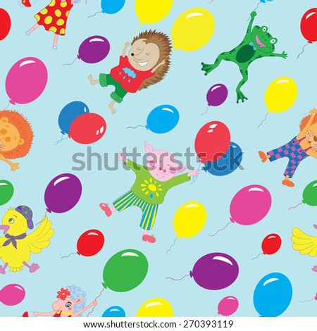 Seamless background with funny animals flying on colorful balloons in sky, hand drawn illustration - stock vector