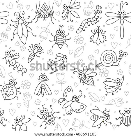 Seamless background with funny cartoon insects. Silhouettes of butterfly, dragonfly, snail, beetle, caterpillar, ant, spider, ladybug, grasshopper, mosquito. Childish illustration in cartoon style. - stock vector