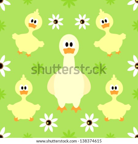 Seamless background with funny goose