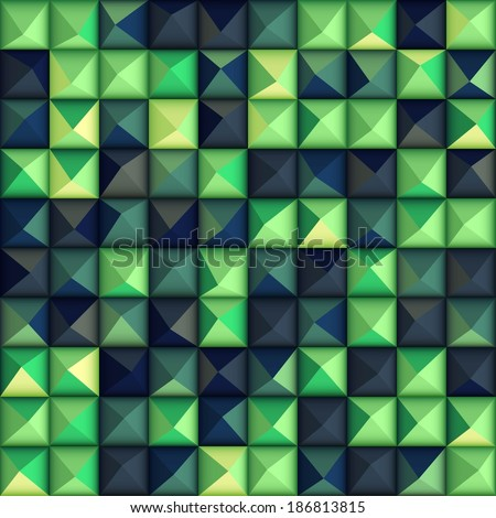 Seamless background with glossy relief plastic triangles - stock vector