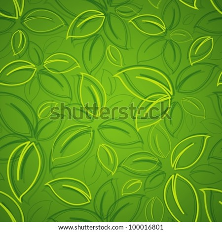 seamless background with green leaves - stock vector