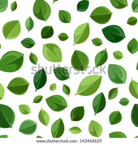 Seamless background with green leaves. Vector illustration. - stock vector