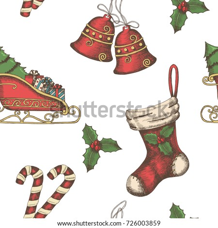 Seamless background with hand drawn bells, santa's sleigh, candy, holly and sock. New year. Christmas pattern can be used for wallpaper, web page background, surface textures, textile, package
