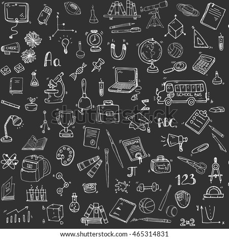 Seamless background with hand drawn doodle School icons set Vector illustration educational symbols Cartoon learning elements: Laptop; Lunch box; Bag; Microscope; Telescope; Books; Pencil Sketch bus
